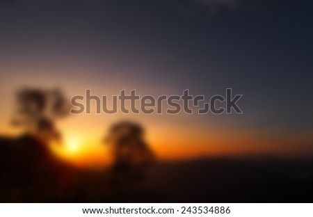 sunset blur morning on hill thailand abstract background - stock photo