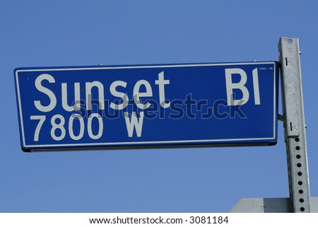 Sunset Boulevard Sign - stock photo