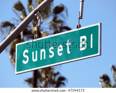 Sunset Boulevard street sign in sunny Hollywood California. - stock photo