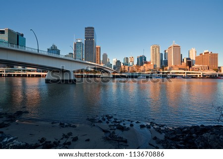 Sunset, Brisbane City - stock photo