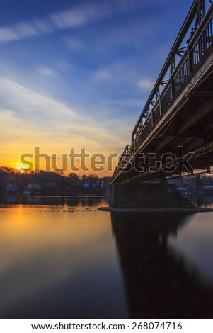 Sunset by the bridge in Lambertville, New Jersey