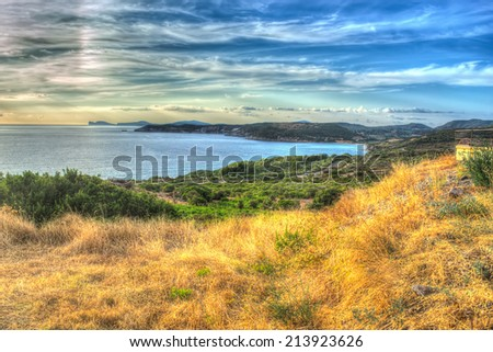 sunset by the sea in hdr tone mapping - stock photo