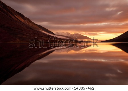 Sunset captured at Loch Etive, West Highland, Scotland. - stock photo