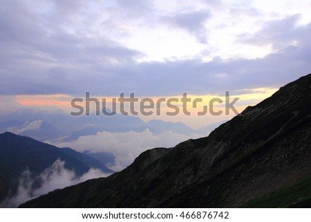 Sunset cloud and mountain