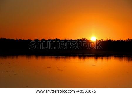 Sunset Ding Darling Wildlife Refuge Sanibel Florida - stock photo
