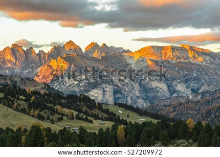 Sunset Dolomites Mountains of Passo Sella, Italy