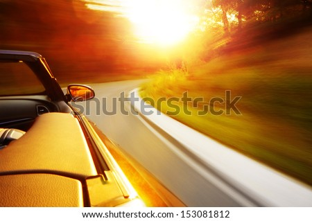 Sunset drive - stock photo
