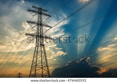 Sunset electric tower in China