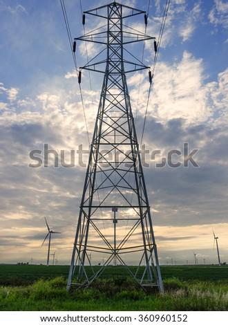 sunset electrical transmission tower