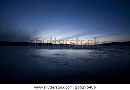 Sunset Evening on Canadian Lake in Saskatchewan - stock photo