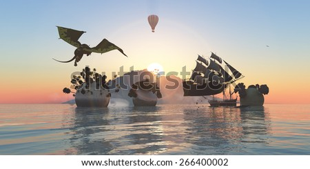 sunset, fantasy and magic on a tropical island - stock photo