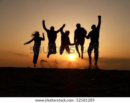 sunset friends - stock photo