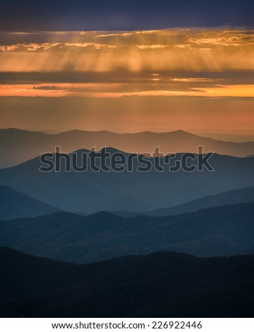 Sunset from Clingmans Dome in Great Smoky Mountains National Park, Tennessee  - stock photo
