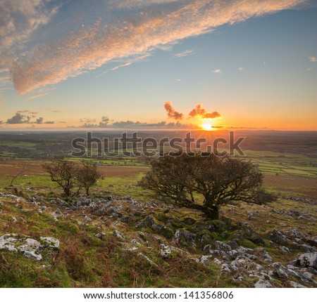 Sunset from Cox tor Dartmoor National Park Devon Uk