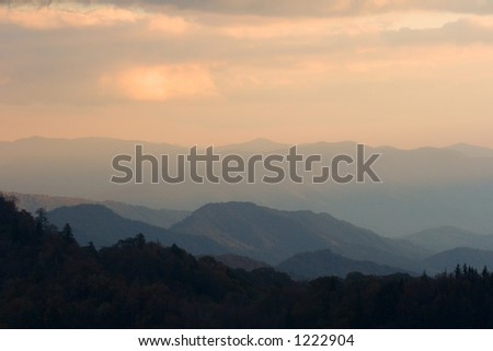 Sunset from high in the Smoky Mountains Nat. Park, USA.
