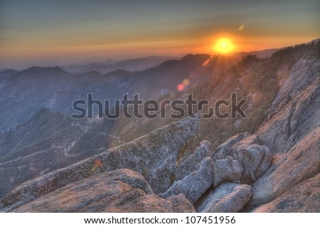 Sunset from Morro Rock in Sequoia National Park - stock photo