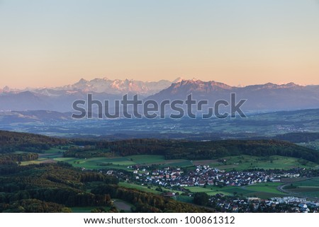Sunset from Uetliberg with Pilatus and  swiss alps, Zuerich, Switzerland