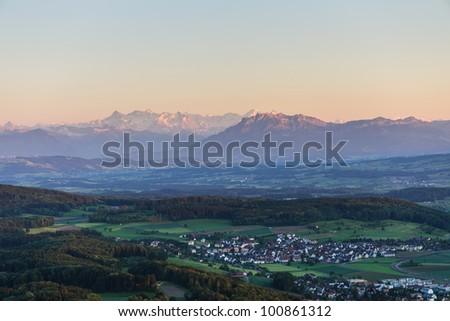 Sunset from Uetliberg with Pilatus and  swiss alps, Zuerich, Switzerland - stock photo