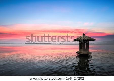 sunset glow in the beautiful hangzhou west lake,China - stock photo