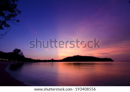 Sunset glowing view while magic hour in Pangkor Island, Malaysia - stock photo