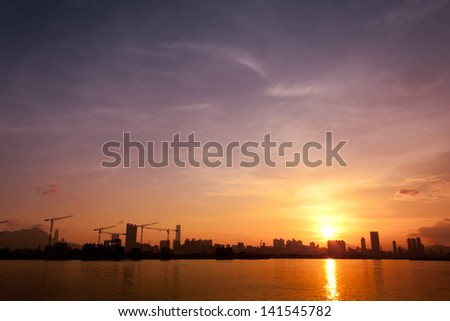 Sunset Hong Kong - stock photo