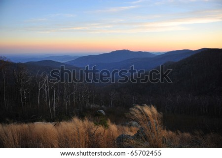 Sunset image from Pinnacle Overlook on Skyline Drive in the Blue Ridge Mountains of Virginia. - stock photo