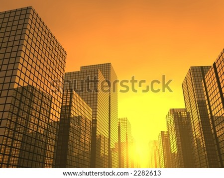 sunset in a modern city - stock photo