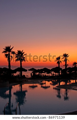 Sunset in a tropical paradise - stock photo