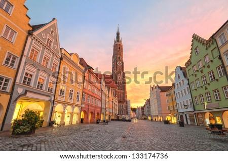 Sunset in an old gothic german town Landshut by Munich, Bavaria - stock photo