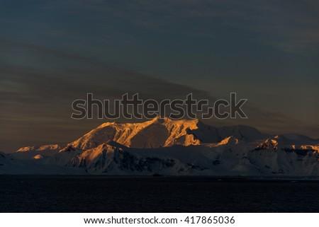 Sunset in Antarctica - stock photo