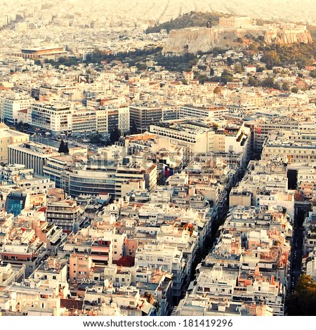 Sunset in Athens.Vintage toned photo.View of the city. - stock photo