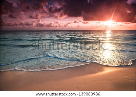 Sunset in Bavaro Beach, Punta Cana, Dominican Republic. Tropical vacation  concept - stock photo