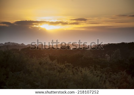 Sunset in Brittany - stock photo