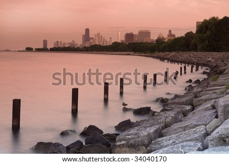 Sunset in Chicago - seen from north side - stock photo