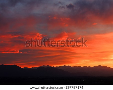 sunset in colorado - stock photo