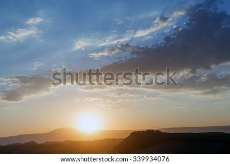 Sunset in Death Valley of Moon Valley in Atacama Desert - Chile, Latin America - stock photo