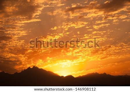 Sunset in Desert - Sahara Rocky Mountains - stock photo