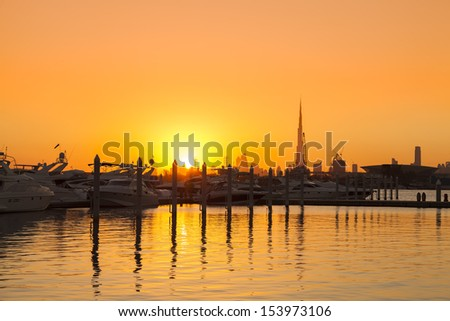 sunset in Dubai - stock photo
