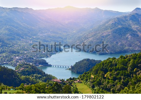 sunset in Geres national park. Portugal  - stock photo