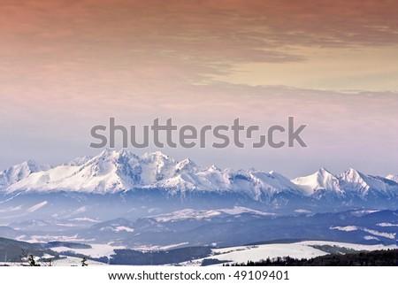 Sunset in High mountain. - stock photo