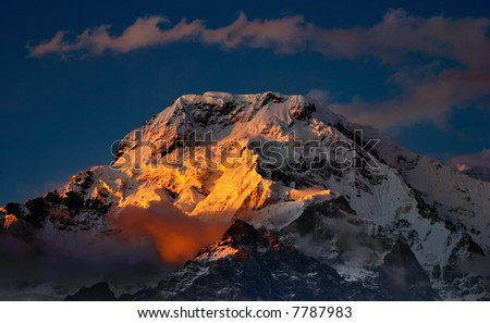 Sunset in Himalaya, Annapurna South - stock photo