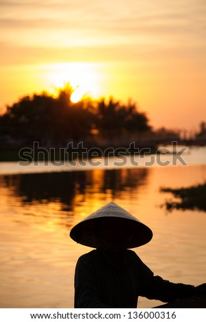 Sunset in Hoi An, Vietnam - stock photo