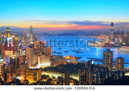 sunset in hong kong city - stock photo