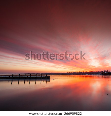 Sunset in Keszthely Bay, lake Balaton - stock photo