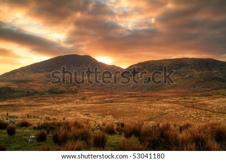 Sunset in Kilarney mountains - stock photo