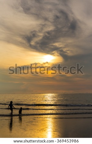 sunset in Kuta, Bali - stock photo