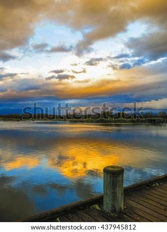 Sunset in Lake Taupo, New Zealand - stock photo
