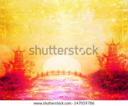 sunset in Lake with Pagoda  - stock photo