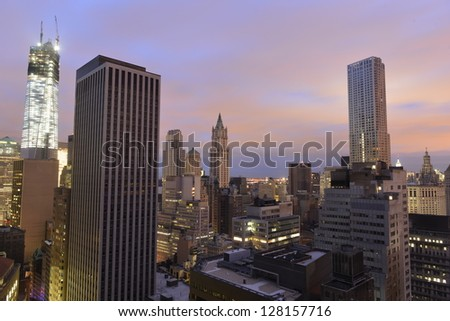 Sunset in lower Manhattan, on November 2, 2012 during the blackout that followed Hurricane Sandy. - stock photo