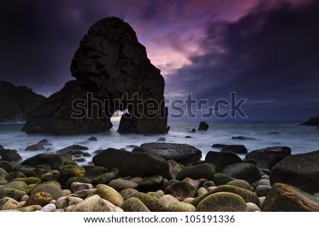 Sunset in Malhada beach in Portugal - stock photo